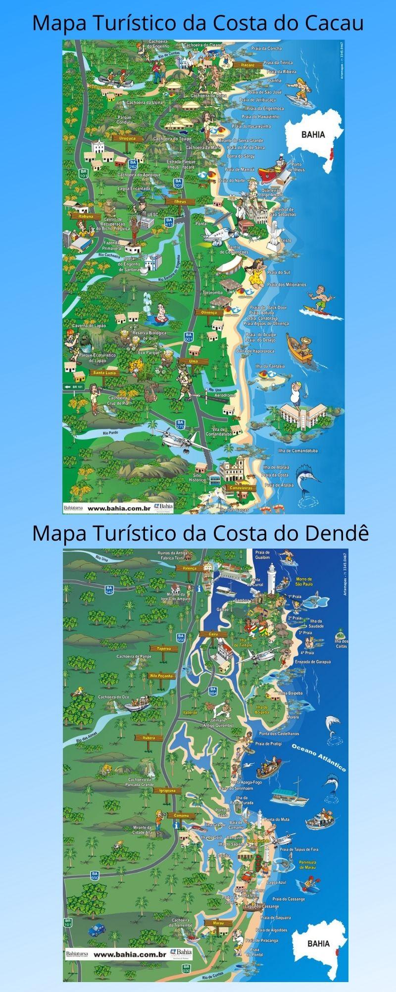 Infográfico Atrações Turísticas da Bahia (Costa do Cacau e Costa do Dendê)2